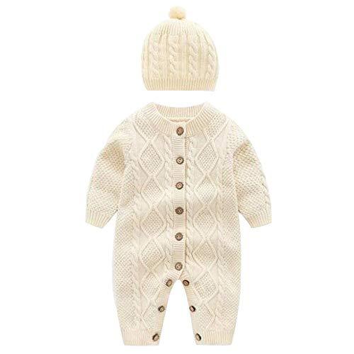 Mameluco de Punto + Sombrero recién Nacido bebé Conjunto de Pijama de Manga Larga para Bebe niño niña Ropa casera Peleles para Dormir 28