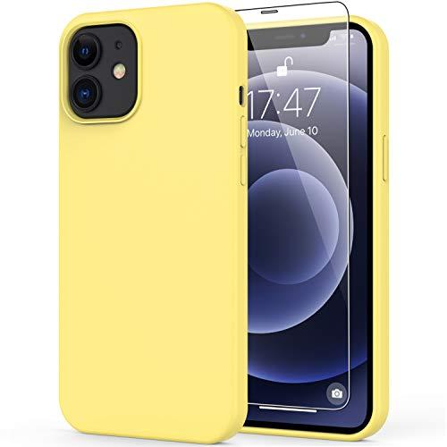 DEENAKIN Funda para iPhone 12 Pro Max con protector de pantalla, silicona líquida suave, goma de gel, ajuste delgado, a prueba de golpes, funda protectora para iPhone 12 Pro Max 6.7 pulgadas, amarillo