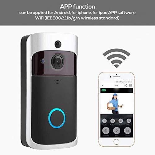 SDRFSWE Draadloze Deurbel Modern Ontwerp Visuele Deurbel Smart Video WiFi Audio Telefoon Waterdichte PIR Bewegingsdetectie Deurbellen Home Beveiligingssysteem Zwart
