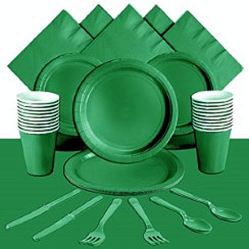 Green Party Supplies Kit - Paper Plates, Napkins, Cutlery & Cups ~ 112 Pieces