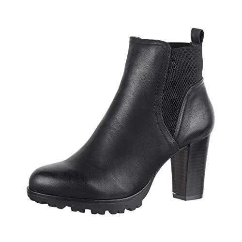 Elara Damen Stiefelette Ankle Boots Hoch Chunkyrayan BZ66019-KB Black-39