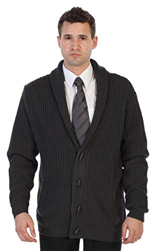 Gioberti Men's Toggle Button Cardigan Knitted Regular Fit Sweater, Charcoal New, X-Large