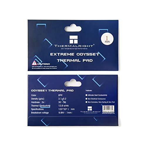 SnowBabe Thermalright Pad Termico 12,8 W/MK, 9,8 V, 120x20x1mm, Resistencia al Calor y Resistencia a Altas temperaturas, Almohadilla térmica GPU/CPU/SSD/PS4 Thermal Pad (120x20x1mm)