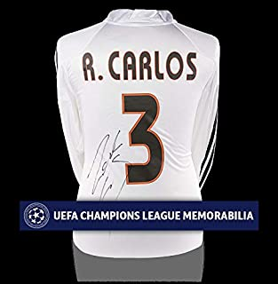 Roberto Carlos Official Uefa Champions League Back Autographed Signed Real Madrid 2004-05 Home Shirt