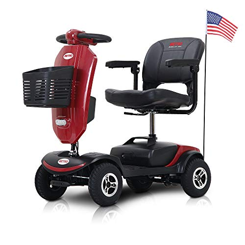 4 Wheel Travel Mobility Scooters for Adults 18 in Width Seat 4.9 Mph Max Speed 265 lbs Max Weight Electric Powered (Red) Mobility Scooters