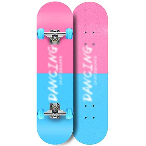 Skateboarden Für Erwachsene Und Kinder Und Anfänger 150 Kg Gewicht Kann Für Verschiedene Fertigkeiten Verwendet Werden 7A Hochwertiges Ahorn, Blinkrad (Color : A, Size : 80 * 20cm)