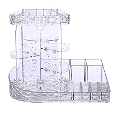 Fewear Ship from USA,Makeup Organizer, Cosmetic Storage Tube Pen Holder Crystal Candle Holder Wedding Lover Decoration,Makeup Holder Storage,Cosmetics Organizer Box (A)