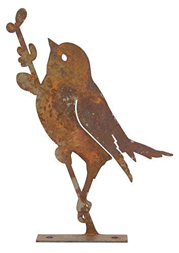 Décoration de jardin en forme d'oiseau accroché à une branche En métal rouillé
