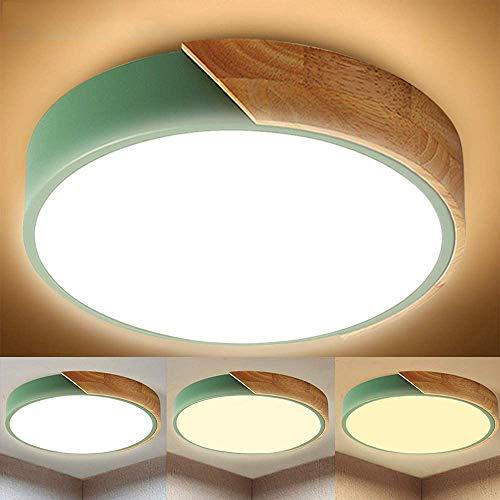 30W LED Deckenleuchte, Ø40cm 3 Farbe Licht Umwandlung, 3200LM 4500K- 6000K Badlampe in Moderner Holz-Optik, Ideal für Badezimmer, Küche, Wohnzimmer, Schlafzimmer, Balkon, Flur, Badezimmerlampe