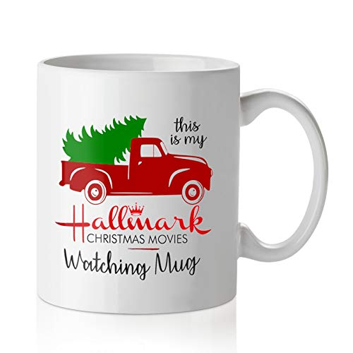 Pcdvn Christmas Movie Watching Mug, Red Pickup Truck Coffee Cup -Birthday Winter Holiday Gifts