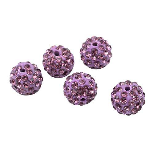 PH PandaHall About 100 Pcs 10mm Clay Pave Disco Ball Czech Crystal Rhinestone Shamballa Beads Charm Round Spacer Bead for Jewelry Making Light Amethyst