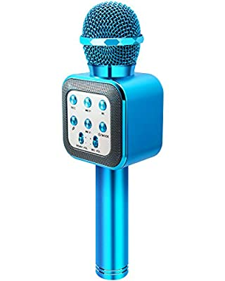 ShinePick Karaoke Microphone, 4 in 1 Wireless Bluetooth Dancing LED Lights Handheld Portable Speaker, Home KTV Player with Record Function, Compatible with Android & iOS Devices (Blue)