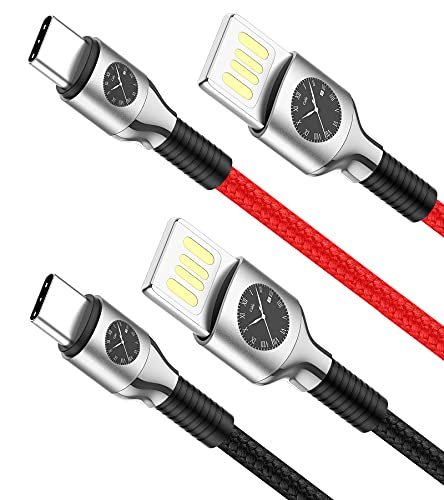 Reversible USB A to USB C Cable,SUNGUY【2-Pack,4ft/1.2M】Double Side Type-A Fast Charging & Sync Cable, Compatible for Galaxy S20 / S10 / S9 / S8 / Note 8, Moto G7, LG V20 / G5 / G6 (Red + Black)