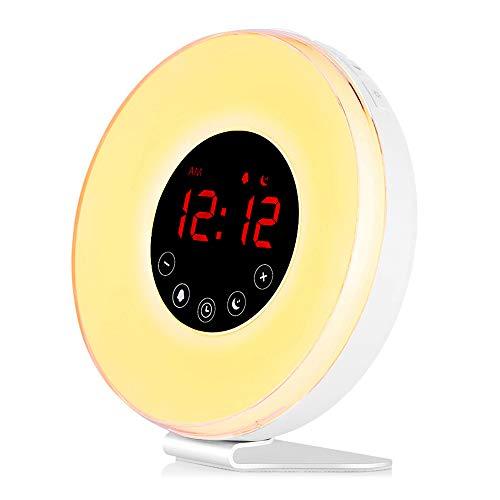 Wake-Up Light con Simulazione dell'Alba e Tramonto Sveglia, Radiosveglia Luce Notturna con 7 Colori, Sveglia Sunrise, Regali per Amici, Donne, Gli uomini, Bambini, Compleanno (Colorato 2)