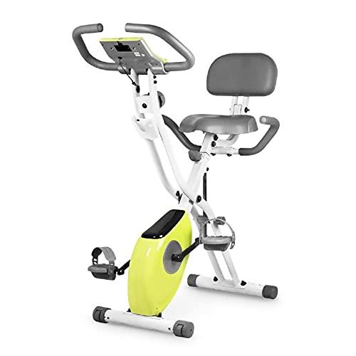 HSJ Bicicleta EstáTica de Ejercicio Vertical MagnéTica Plegable Ultra Silenciosa con Frecuencia CardíAca, Monitor LCD
