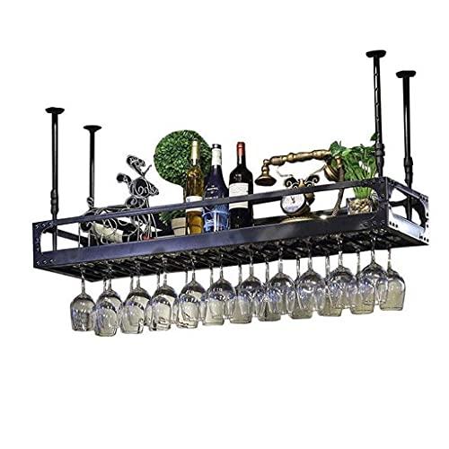 FBBSZSD Soporte para botelleros para Vino Montado en Metal Retro Hierro Colgando Boca Abajo Cerveza Invertida Estante para Botellas Cubilete (Color: Negro, Tamaño: 80 * 35Cm)
