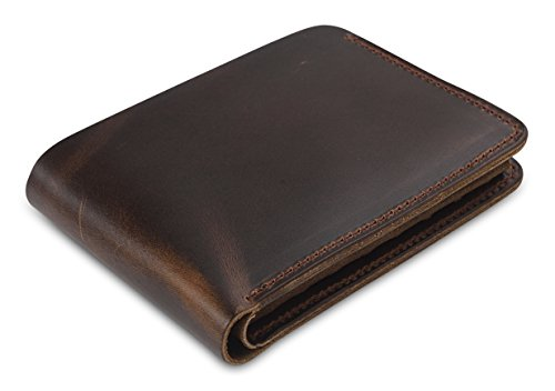 Secret Felicity Men's Leather Bifold Wallet,Entirely Handmade,Best Gift for Father's Day (SF1001) (Dark Brown)