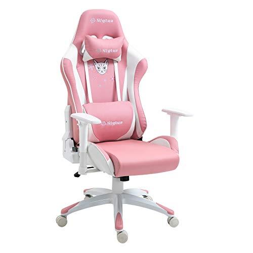 Sigtua, Gaming Stuhl Computerstuhl Höhenverstellbarer Armlehnen PINK PC-Stuhl Gamer Stuhl Chefsessel Ergonomischer Drehstuhl Schreibtischstuhl mit hohe Rückenlehne Kopfstütze und Lordosenstütze, Rosa