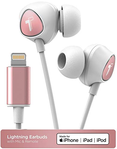 Thore iPhone In Ear Lightning Koptelefoon Apple MFi Gecertificeerde Oortelefoon (2018 V100) Bedraad Oordopjes met Mic/Volume Controle & Microfoon voor iPhone 7/8 Plus/XR/Xs Max- Rose Goud