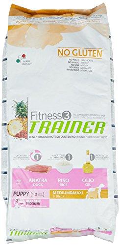 Trainer Fitness 3 No Gluten Puppy Medium&Maxi Anatra Riso Olio 12,5kg