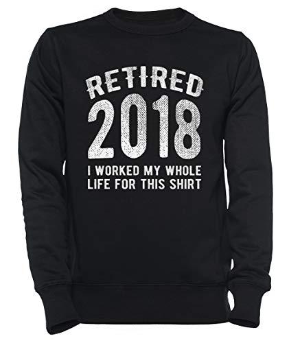 Retired 2018 Worked Hard Funny Retirement Gift Hombre Mujer Unisexo Sudadera con Capucha Negro Tamaño XS - Women's Men's Unisex Sweatshirt Hoodie Black