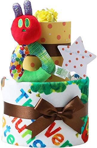 はらぺこあおむし おむつケーキ 出産祝い 名入れ刺繍 2段 オムツケーキ 女の子 男の子 男女兼用 名前入り ERIC CARLE エリックカール メリーズテープタイプMサイズ