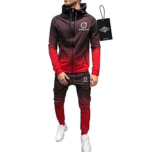 BOYASI de Los Hombres Chandal Conjunto Trotar Traje Vo.L-Vo Hooded Zipper Chaqueta + Pantalones Capucha Baloncesto Ropa de Los Hombres /  Rojo/M