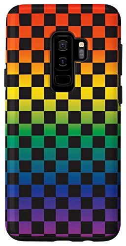Galaxy S9+ Black Checkered Rainbow Ombre Pattern Case