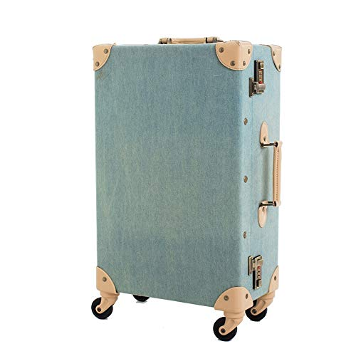 VBNM Maleta Ruedas De Maleta Vintage De Moda PP + PU Spinner De Equipaje con Ruedas De Cuero Trolley Retro para Mujer 24 Pulgadas 24