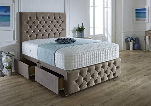 ComfoRest, Bedding & Upholstery Innovation Leader Mink Plush Velvet Ibex Plus Divan Set With 54' Ibex Headboard, 4 Tac 1000 Pocket Mattress And 2 Drawers (4FT - Small Double)
