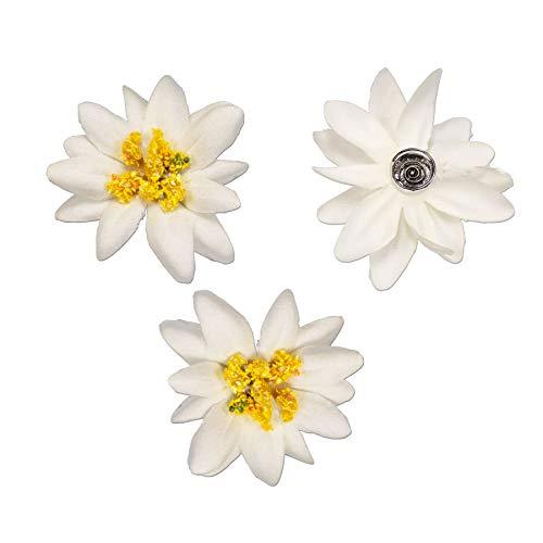 Alpenflüstern Trachten Haar-Curlies Edelweiss Stoffblüten 3-er Set Creme-weiß ADV114