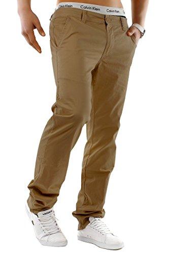 EGOMAXX Herren Chino Hose Stretch Jeans Slim Fit Designer Basic Stoffhose, Farben:Braun, Größe Hosen:W28