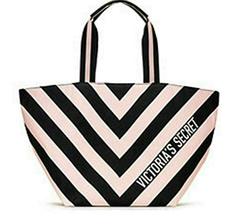 Victoria's Secret Tote Bag Pink Black Striped, Stripe Duffle Pink