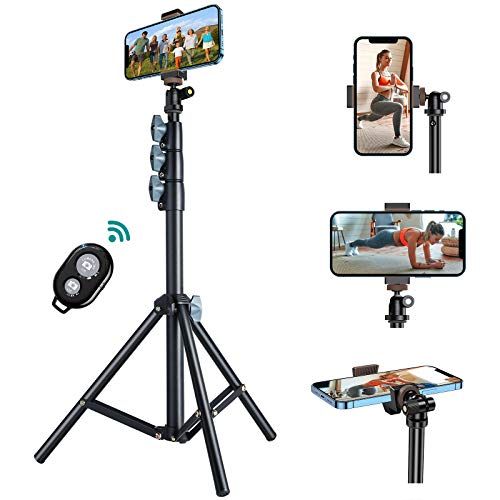 60'' Phone Tripod, VICSEED Universal Phone Tripod Stand with Bluetooth Remote, Tripod for iPhone Heavy Duty Fully Adjustable Fits iPhone 12 Pro Max Mini 11 Xs, Samsung Note 20 S20 Plus and All Phones