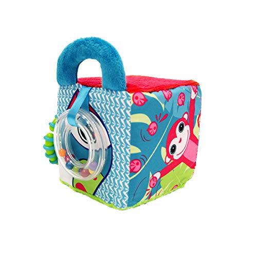 LUDI - Cube en tissu pour l'éveil de bébé 10 x 10 x 10 cm. Multiples activités sensorielles qui attirent la curiosité. Différentes couleurs, motifs et textures. Développe la dextérité - 30038