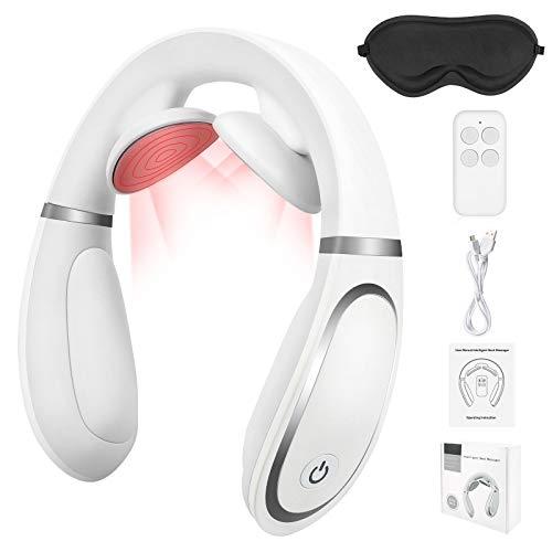 Sinjia Nackenmassagegerät mit Wärmefunktion,Vatertagsgeschenk für Vater,Elektrisches Massagegerät,4 Modi und Elektrisch 15-Gang-Reisemassagegerät,Intelligente Fernbedienung,für Hause Büro (Weiß)