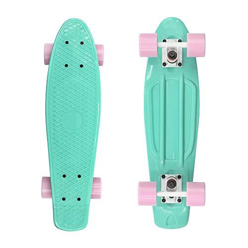 Teal Green Skateboard with Pink Wheels Cruiser Board 22  Complete Board AZM