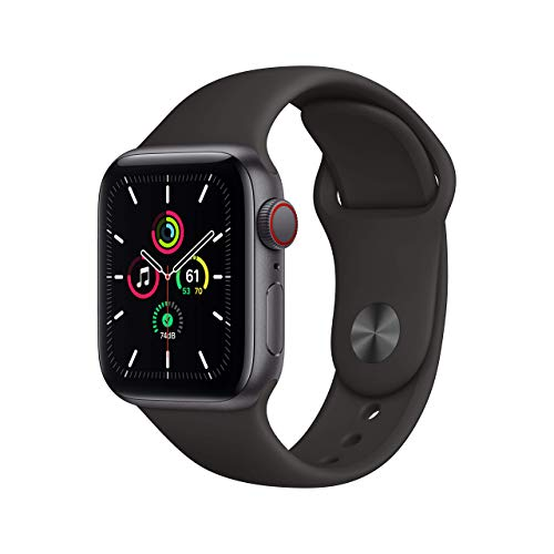 Novità AppleWatch SE (GPS+Cellular, 40mm) Cassa in alluminio grigio siderale con Cinturino Sport nero