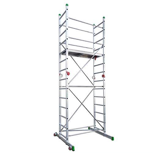Escalibur | ES.SUPER | Mini andamio de Aluminio Multiusos | 500x140x125/60 cm | Con Base Estabilizadora | Tacos de goma Antideslizantes | Máxima seguridad | Montaje Rápido