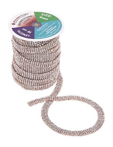 Mandala Crafts DIY Rhinestone Chain – Rhinestone Trim Cup Close Chain - Rhinestone Roll Crystal Chain Rhinestones for Crafts Sewing Jewelry Making Decoration 4 Row 2mm 10 Yards Rose Gold