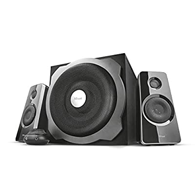 Trust 17966 Tytan 2.1 PC Speaker System with Subwoofer for Computer and Laptop, 120 W, UK Plug, Black by Trust
