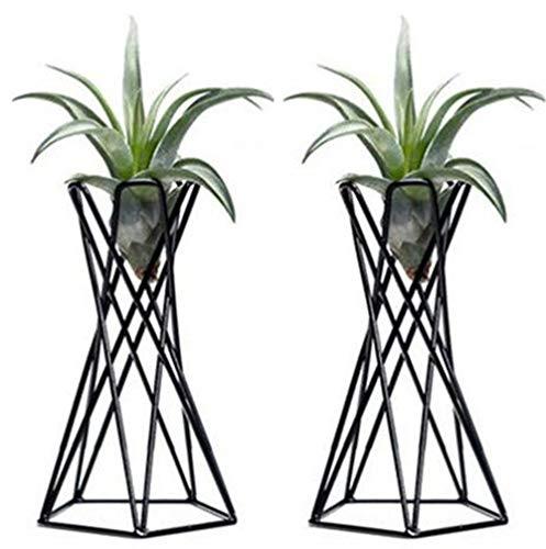 FGASAD Pack de 2 soportes de mesa negros de metal para plantas de aire, soportes de escritorio de...