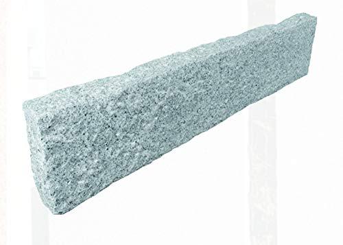 Splittprofi Palisade Granit hellgrau 8x25x100cm gestockt Kantenstein Beeteinfassung
