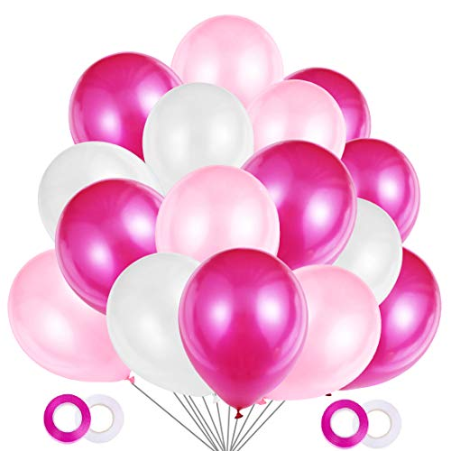 JOJOR Globos Rosas, 100 Piezas Globos Fucsia Rosa y Blancos, Globos de Helio Perlados para Fiesta Rosa, Primera Comunion, Bautizo Niña, Boda, Cumpleaños | 30 Centímetros | Helio o Aire