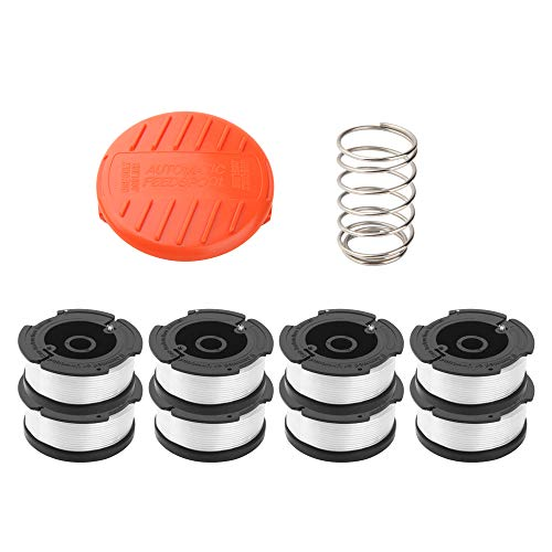"""Wolfish 9 Pack WeedEaterSpoolSpool Replacement for Black+Decker AF-100 String Trimmers,30ft 0.065"""" Line String Trimmer Replacement Spool, (8 Replacement Spool, 1 Trimmer Cap, 1 Pack Spring)"""