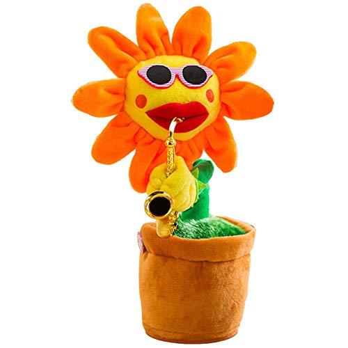 QTMY 매혹적인 춤 색소폰 꽃 해바라기 재미 있은 음악 플러시 장난감 어린이 성인 애완 동물 120 노래