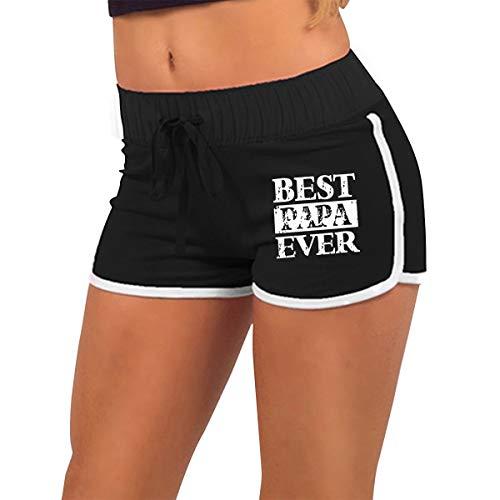 Womens Sexy Booty Shorts Best Papa Ever Torso Silhouette Dance Yoga Festivals Hot Pants Black