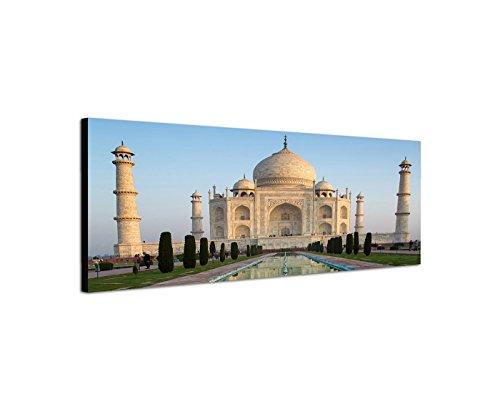 Muurschildering op canvas als panorama in 120x40cm India Taj Mahal water spiegeling