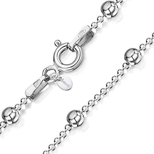 Amberta 925 Sterlingsilber Damen-Halskette - Kugelkette mit größeren Kugel - 1.1 mm Breite - Verschiedene Längen: 40 45 50 55 60 cm (45cm)