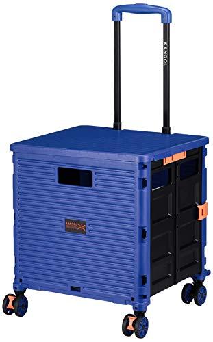 [カンゴール] キャリーカート 4輪(ストッパー機能付き) コンテナキャリー 折り畳み可能キャリー 耐荷重35kg 35 cm ブルー